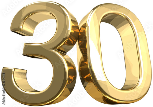 Fotografia  30 golden number isolated 3d rendering