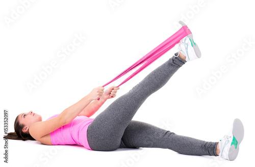 Foto op Plexiglas Fitness fitnessübung mit dem theraband