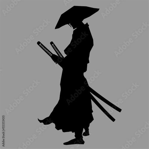 Samurai silhouette Tablou Canvas