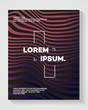 Cover design template with abstract lines modern color gradient style on black background