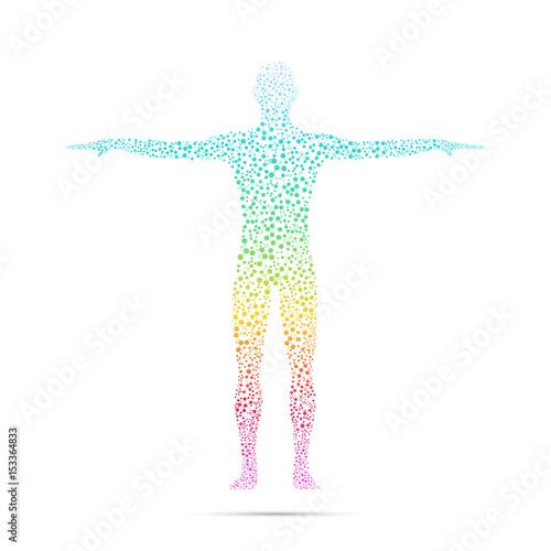 Fotografía  Human body with molecules DNA