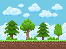 Pixel Game Vector Landscape Wi...