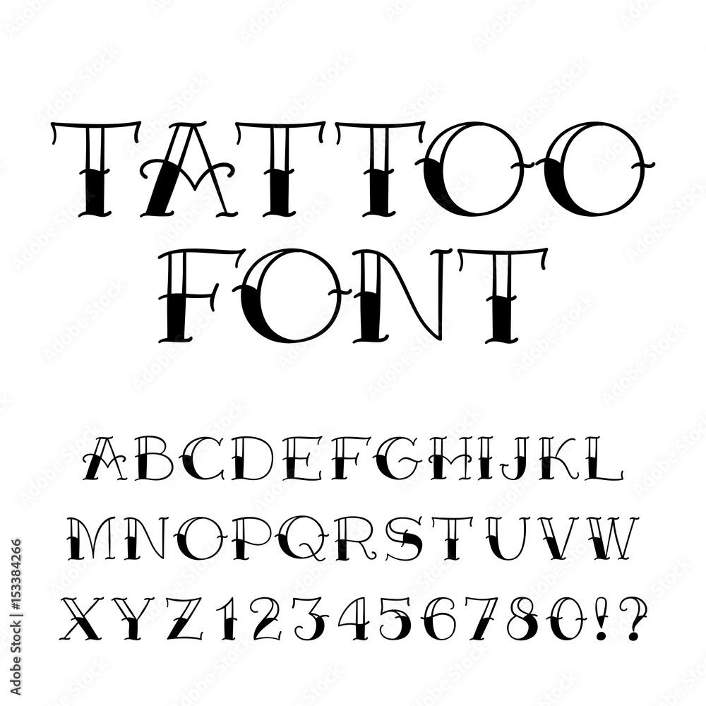 Obrazy Na Płótnie Tattoo Font Vintage Style Alphabet
