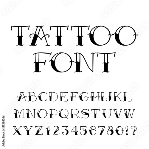 Tattoo font. Vintage style alphabet. Letters and numbers on white ...