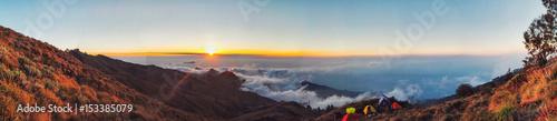 Photo Stands Cappuccino Panorama sunset view Rinjani Mountain