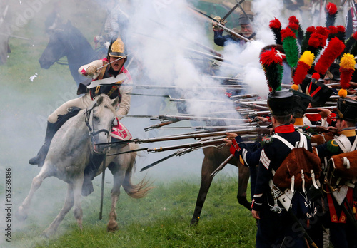 Participants reenact the 1812 Battle of Borodino between Russia and