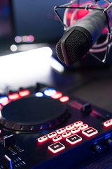 Fototapeta na wymiar DJ equipment at night club