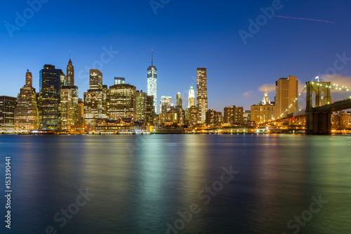 Fototapety, obrazy: Panorama of Brooklyn Bridge and Lower Manhattan by night