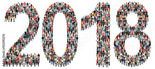 Photo  Jahr 2018 Neujahr Neu Neues Leute Menschen People Gruppe Menschengruppe