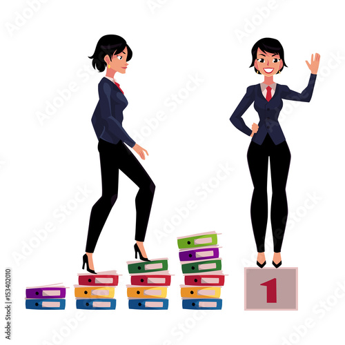 Young Businesswoman Climbing Career Ladder And Standing On Winner Pedestal Cartoon Vector Illustration Isolated On White Background Pretty Business Woman Achieving Success Celebrating Victory Buy This Stock Vector And Explore Similar