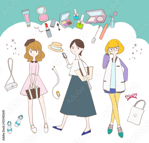 化粧品とファッション洋品と女の子のイラスト Buy This Stock Vector