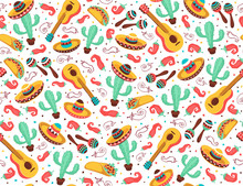 Viva Mexico Seamless Pattern. Mexican Culture Symbols On Black Background. Guitar, Sombrero, Maracas, Cactus And Jalapeno In Tiled Backdrop Design.