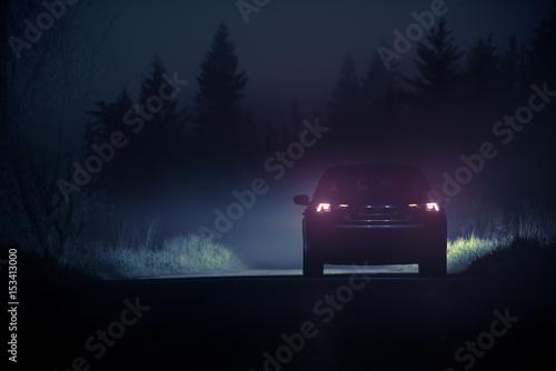 Dense Fog Countryside Drive Canvas Print