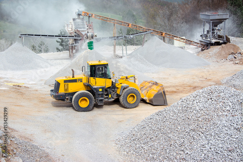 Photo Quarry aggregate with heavy duty machinery