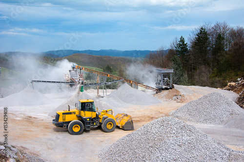 Quarry aggregate with heavy duty machinery Canvas Print