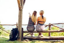 Two Best Friends Take A Break On A Mountain Bench