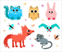 Cute Animals Set Painted Grung...