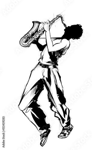 Tuinposter Art Studio saxophone player