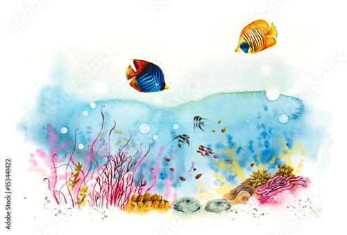 Fototapeta premium Podwodni mieszkańcy. Życie morskie. Akwarele ręcznie rysowane ilustracji.