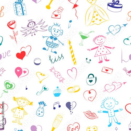 Seamless Pattern Of Colorful Hand Drawn Set Of Valentine S Day