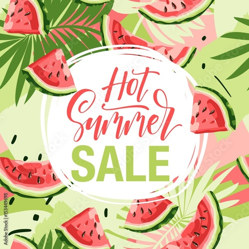 summer sale hand drawn lettering phrase on background with