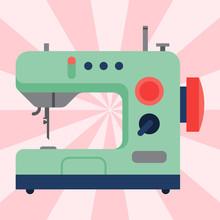 Sewing Machine Old Vintage Equipment Design Tool Craft Needle Fashion Handmade Vector Illustration.