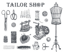 Vintage Tailor Shop. Tailor Shears, Needle And Thread, Spool Of Thread, Sewing Machine, Thimble, Charcoal Iron, Sartorial Meter,  Buttons, Pin-cushion, Tambour. Hand Drawn Sewing Tools