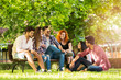 canvas print picture Group of young people having fun outdoors