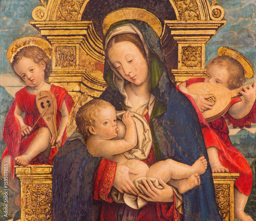 Fotografie, Obraz  TURIN, ITALY - MARCH 13, 2017: The painting of The Nursing Madonna in Duomo by Defendente Ferrari (1511 - 1535)