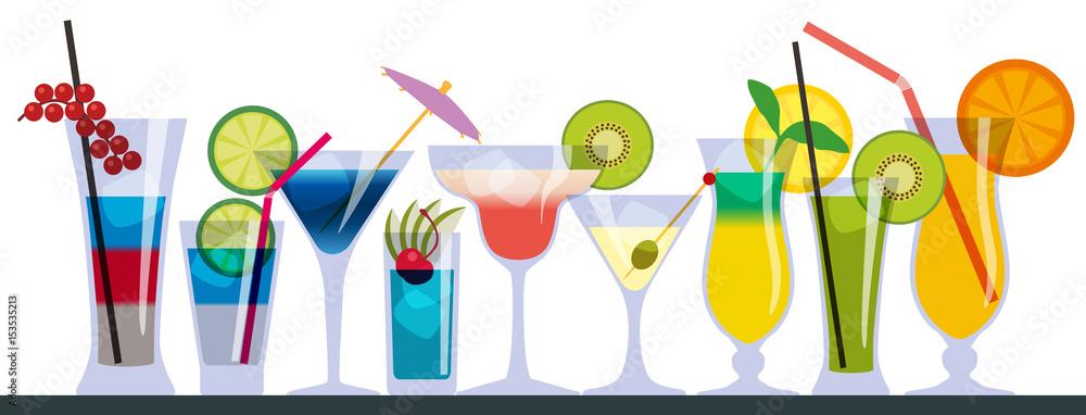 Fototapeta cocktail - verre - apéro - apéritif - boisson - alcool -bar - fond - vacances