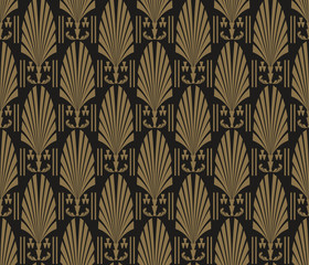 Fototapeta Art Deco Wallpaper. Modern pattern seamless dark black colors. Tile design pattern seamless. Background vector.