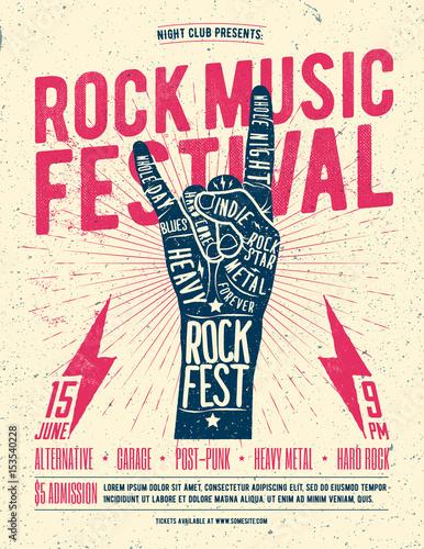 Rock Festival Flyer Poster. Vintage styled vector illustration. © paul_craft
