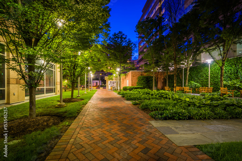 Walkway and park at night, in Bethesda, Maryland. фототапет
