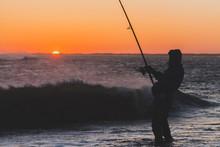 Surf Fishing In Hatteras North Carolina At Sunset