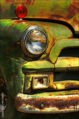 Recess Fitting Vintage Poster Brightly colored Abandoned car