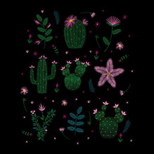 Colorful Embroidery. Decollete Floral Pattern With Cacti And Plants. Ethnic. Vector Traditional Traditional Flowers On A Black Background