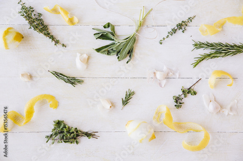 Poster  Close-up of herbs and vegetables on table