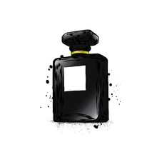 A Beautiful Bottle Of Female Perfume. Vector Illustration For A Postcard Or A Poster, Print For Clothes. For Her. Fashion & Style. Glamorous Accessory.