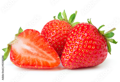 Deurstickers Vruchten Strawberries isolated on white background