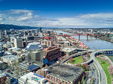 Blue Sky And Clouds Over Downtown Portland Oregon With Drone