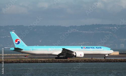 A Korean Air Boeing 777-300ER taxis San Francisco