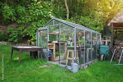 Fotomural petit serre en kit dans jardin particulier en été