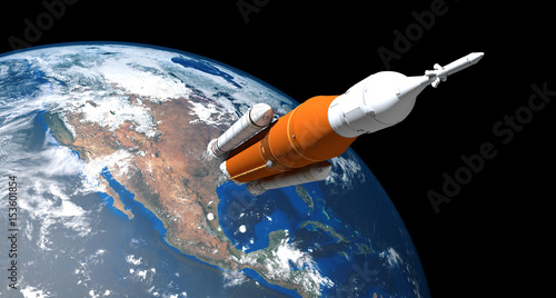 Extremely detailed and realistic high resolution 3d image of a Space Launch System Rocket Wallpaper Mural