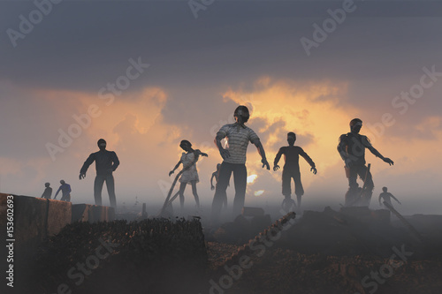 Photo  3D Illustration of a a crowd of zombies