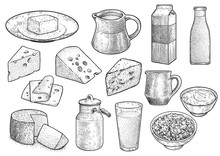 Dairy Prodict Illustration, Drawing, Engraving, Ink, Line Art, Vector