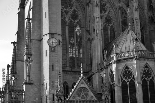 Photo  Details of the Gothic and medieval cathedral (Saint-Etienne of Metz)