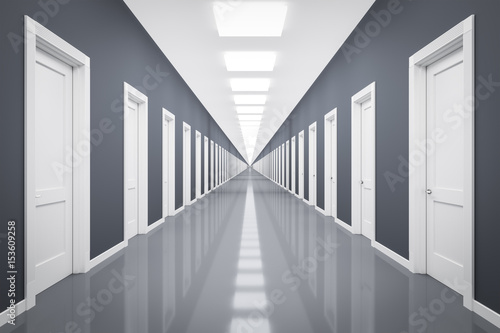 Photo an endless corrior with lots of white doors