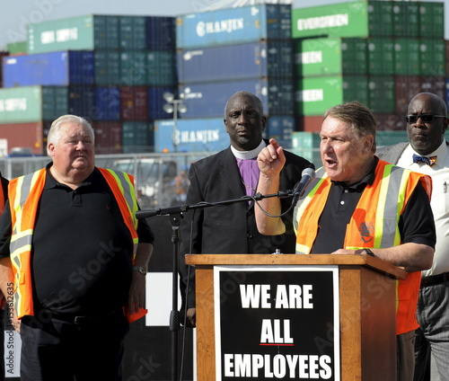 Teamsters labour union James P  Hoffa speaks at a news