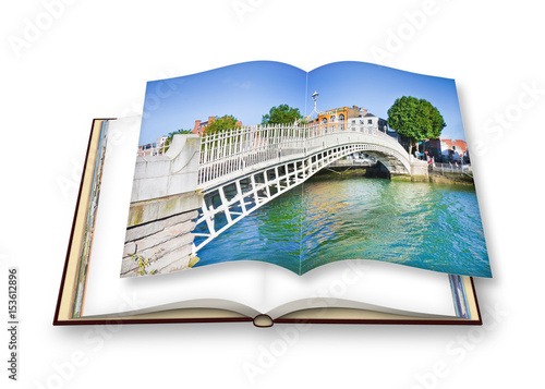 "Photo  The most famous bridge in Dublin called ""Half penny bridge"" due to the toll char"