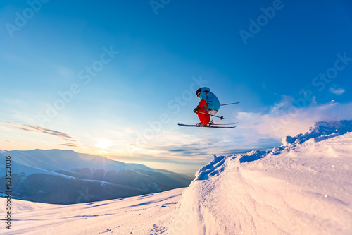 Good skiing in the snowy mountains, Carpathians, Ukraine Wallpaper Mural